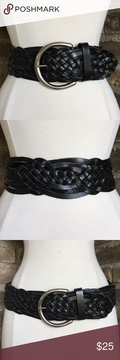 Express Wide Black Leather Braided Belt Size L Express wide woven black leather braided belt silver tone buckle. Excellent preloved condition, please see photos. Women's size large, genuine leather. Express Accessories Belts