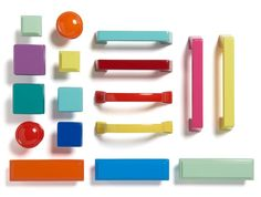 Add zip to plain cabinets by swapping out the usual knobs for this candy-colored hardware, which comes in 20 different designs, each available in 20 vibrant hues. About $7 each from splashbyamerock.com