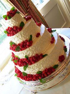 four layered raspberry wedding cake!