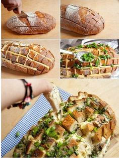 A delicious bread whit chees and basil.