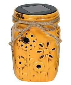 Another great find on #zulily! Yellow Mason Jar Solar Lantern #zulilyfinds