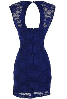 Bold Floral Lace Fitted Dress in Royal Blue