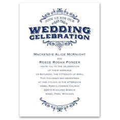 vintage allure wedding #Invitations   typography wedding invites at Ann's Bridal Bargains