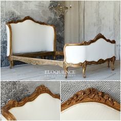 Eloquence One of a Kind Vintage French Louis XV Hand Carved Full Bed Upholstered