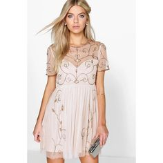 Boohoo Boutique Boutique Ela Embellished Skater Dress (79 AUD) ❤ liked on Polyvore featuring dresses, nude, embellished maxi dress, pink maxi dress, maxi dress, pink sequin dress and sequin dress