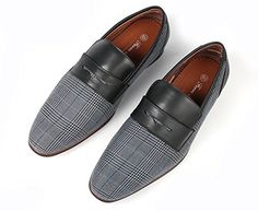 stunning Ferro Aldo Men Fashion Slip On Loafers Dress Shoes Leather Lining Black Blue Plaid