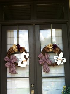 Wreath with chevron burlap ribbon for double front doors