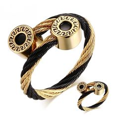 Bracelet + Ring Jewelry Sets For Women Stainless Steel Greek Key Pattern Charm Jewelry Adjustable Size