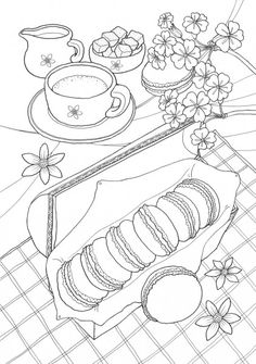 Return of the mac Food Coloring Pages, Summer Coloring Pages, Printable Adult Coloring Pages, Coloring Sheets, Coloring Books, Princess Coloring Pages, Black And White Drawing, Mandala Coloring, Mandala Art