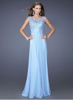 A-Linie/Princess-Linie U-Ausschnitt Bodenlang Chiffon Kleid für die Brautmutter mit Spitze Applikationen Spitze