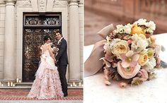 Pink Wedding Dress, much better than plain white :) Pink Wedding Dresses, Wedding Bouquets, Wedding Flowers, New York Wedding, Wedding Day, Wedding Stuff, Romantic Weddings, Real Weddings, Wedding Designs