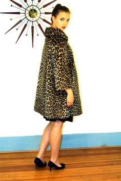 Reserved for Pia - VINTAGE 1960s Leopard Print Swing Coat Faux Fur Kilimanjaro 3/4 Sleeves Jacket Late 50s Early 60s MAD MEN Cheetah Coat