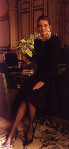 Audrey Hepburn photographed by Jean-Claude Sauer at the Maison Givenchy (in the Avenue George V) to a fashion editorial for Paris Match, 1991.