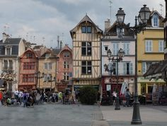 How perfect is this? Lovely buildings in Troyes, France - a great day trip from #Paris!