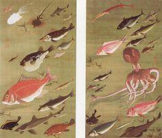 Octopus and Fish, Ito Jakuchu, 1760.