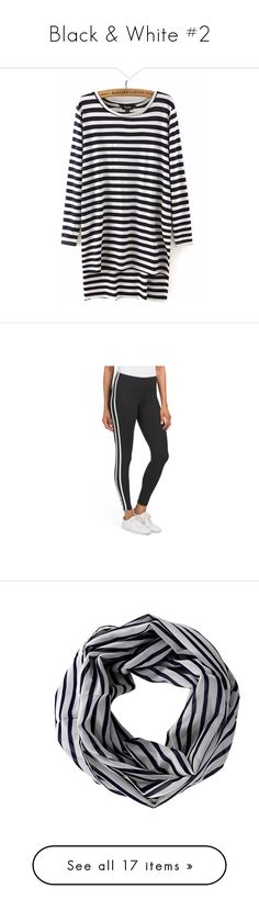 """""""Black & White #2"""" by ultimateginger ❤ liked on Polyvore featuring tops, t-shirts, cut loose tops, long tee, long length tops, loose fitting tops, long t shirt, pants, leggings and stretchy pants"""
