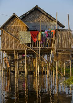 Typical House On Stilts, Inle Lake, Myanmar | by Eric Lafforgue