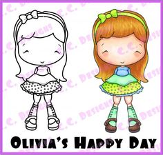 "C.C. Designs Swiss Pixie """"Olivia's Happy Day"""" Rubber Stamp"