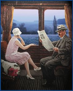 In the Train Compartment, 1927 by Paul Gustave Fischer (Danish painter) 1860 - 1934 Alice Ruiz, Illustrations Vintage, Amazing Gifs, Gif Photo, Art Graphique, Moving Pictures, Belle Photo, Animated Gif, Vintage Posters