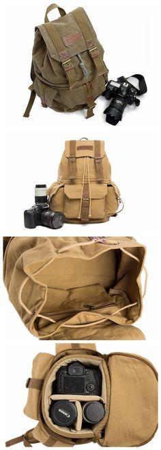 Waxed Canvas Camera Backpack, Professional DSLR Camera Bag, Travel Backpacks