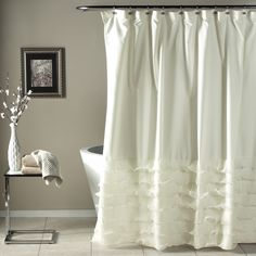 Details about shabby chic shower curtain bathtub tub bathroom decor romantic bath curtains White Ruffle Shower Curtain, Shabby Chic Shower Curtain, White Shower, Fabric Shower Curtains, Elegant Shower Curtains, Blackout Curtains, Window Curtains, Shabby Chic Farmhouse, Shabby Chic Decor