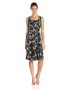 Wear To Work Womens Black and White Floral Printed Dress www.weartowork.us #weartowork #dress