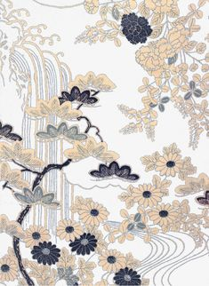 Landscape Flowers, Landscape, Flowers, Japanese-style PNG and Vector Japanese Textiles, Japanese Patterns, Japanese Prints, Japanese Design, Japanese Style, Korean Painting, Chinese Painting, Chinese Art, Textile Patterns