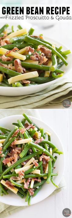 Jazz up your side dish with this Green Bean Recipe with Frizzled Prosciutto and Gouda. It is quick and delicious and a little different from the norm.::