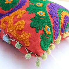 Suzani Cushion Covers Handmade Embroidery Pillow covers Home Decor 16 x 16 Inches Hand Embroidered Woolen Turkish Cushion Covers Indian Art