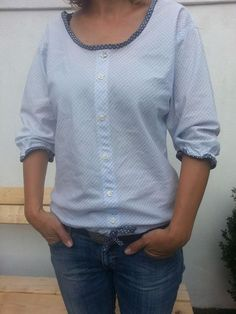 Shirt turns into a blouse - goddess of the moon- Aus Hemd wird Bluse – Mondgöttin Shirt turns into a blouse – goddess of the moon - Diy Clothing, Sewing Clothes, Clothing Patterns, Sewing Patterns, Shirt Refashion, Diy Shirt, Sewing Hacks, Sewing Projects, Creation Couture