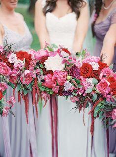 red + purple bridesmaids bouquet