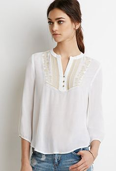 Shop the latest embroidered peasant tops on the world's largest fashion site. White Peasant Blouse, Peasant Tops, Tunic Tops, Crop Top Shirts, College Outfits, Casual Outfits, Fashion Dresses, Women Wear, Clothes For Women