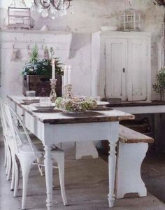 Shabby Chic kitchen - I love this table! Cute bench and adorable cabinet