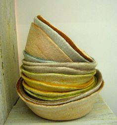 felt bowls. beautiful, functional and not functional. I just like how they look stacked, and the colors.