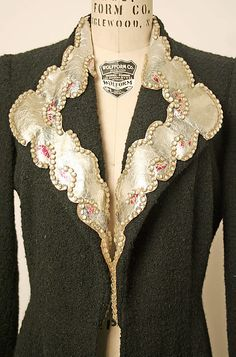 Evening coat (image 3) | House of Schiaparelli | French | 1935 | wool, leather, glass | Metropolitan Museum of Art | Accession Number: 1977.201.14