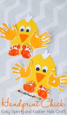 Handprint Chick: Easy Spring and Easter Craft for Kids-perfect to make for spring, Easter, or while enjoying farm themed activities. This activity was sponsored by Huggies:registered