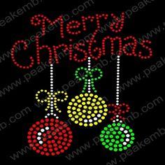 Merry Christmas Hot Fix Rhinestone Motif Wholesale