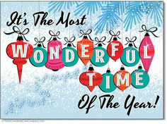 Most Wonderful Time Christmas Cards – features sparkling mid century modern vintage ornaments declaring It's the most wonderful time of the year! A mid century illustration style popular in the 1950s and 1960s. 8 cards & envelopes $12.00