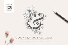 Country Botanicals & Monograms by Lisa Glanz on An abundance of elegant hand drawn botanicals, letter forms and monograms. A sophisticated design companion perfect for wedding stationery, logo designs and beautiful branding. Pencil Illustration, Botanical Illustration, Graphic Illustration, Creative Illustration, Digital Illustration, Art Design, Logo Design, Graphic Design, Typography Design
