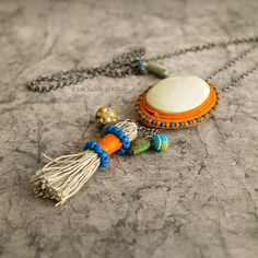 Ethnic, bohemian necklace mid-length, colorful, orange, blue, yellow, tribal, ethnic chic, boho, bobo, gift for her,