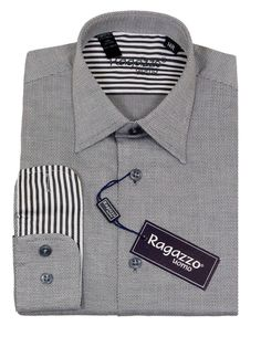 Boy's Dress Shirt 23227 Grey #boyssuits #boyssuitsdotcom #heritagehouse #goodvibes #ragazzo #dressshirt #weave #tonal #contrastcuffs #grey #gray