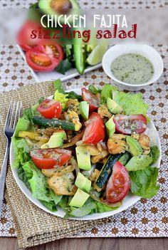 Chicken Fajita Sizzling Salad with Cilantro-Lime Vinaigrette #salad #recipe #chicken #fajita @IowaGirlEats | iowagirleats.com
