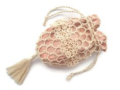 Tatted lace bag Reticule Drawstring bag by ElenaRakovska on Etsy