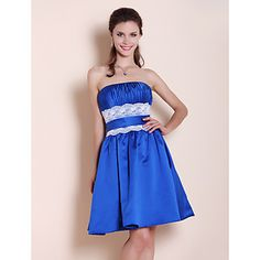 A-line Strapless Knee-length Satin Lace Bridesmaid Dress – USD $ 99.99
