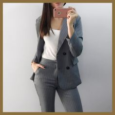 Cheap fashion pant suits, Buy Quality pant suits directly from China suit women Suppliers: Work Fashion Pant Suits 2 Piece Set for Women Double Breasted Striped Blazer Jacket & Trouser Office Lady Suit Feminino 2018 Blazers For Women, Pants For Women, Jackets For Women, Clothes For Women, Ladies Pants, Women Blazer, Striped Blazer, Striped Jacket, Office Fashion Women