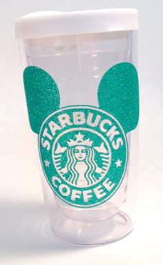Starbucks * Mickey Ears * Latte or coffee 16 oz. or 24 oz. Personalized Glitter Tumbler for Hot or Cold Beverages. from TheGlitterSquad on Etsy.
