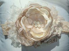 Baby Rosette Headband / Taupe and Cream Headband, via Etsy... love
