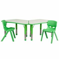 Green Trapezoid Plastic Activity Table Configuration with 2 School Stack Chairs, YU-YCY-091-0032-TRAP-TBL-GREEN-GG by Flash Furniture | BizChair.com