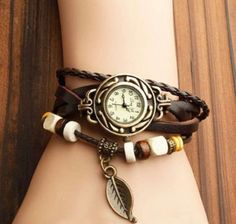 CANIUX Fashion Accessories Trial Order New Quartz Fashion Weave Wrap Around Leather Bracelet Lady Woman Wrist Watch