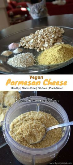 This homemade vegan parmesan cheese pumps up your savory dishes and takes salads to the next level! Easy, oil free, gluten free and amazing!